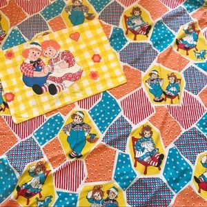 70s Raggedy Ann and Andy Flat Sheet and Pillowcase